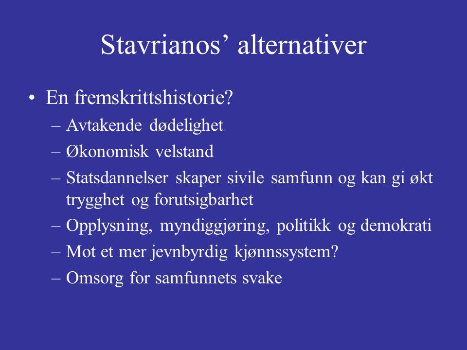 Stavrianos' alternativer En fremskrittshistorie? –Avtakende dødelighet –Økonomisk velstand –Statsdannelser skaper sivile samfunn og kan gi økt trygghe