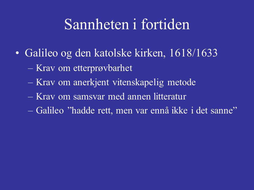 Galileo og den katolske kirken, 1618/1633 –Krav om etterprøvbarhet –Krav om anerkjent vitenskapelig metode –Krav om samsvar med annen litteratur –Galileo hadde rett, men var ennå ikke i det sanne