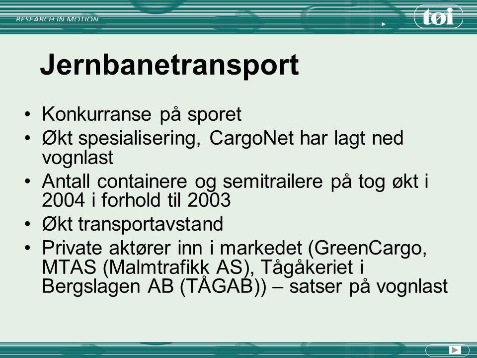 Jernbanetransport Konkurranse på sporet Økt spesialisering, CargoNet har lagt ned vognlast Antall containere og semitrailere på tog økt i 2004 i forho