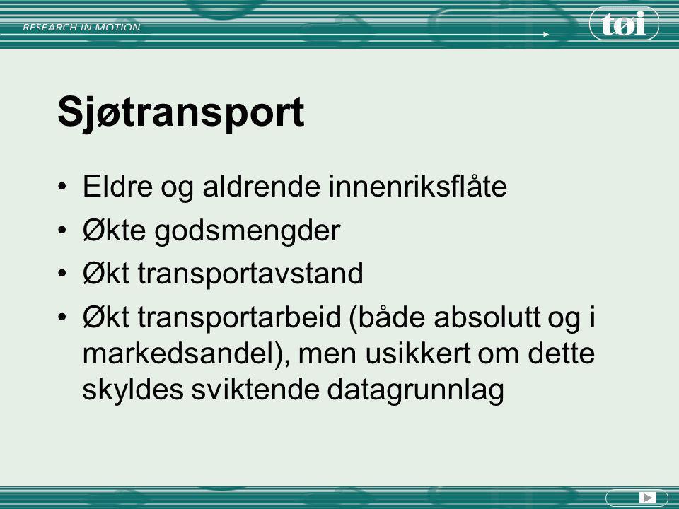 Sjøtransport Eldre og aldrende innenriksflåte Økte godsmengder Økt transportavstand Økt transportarbeid (både absolutt og i markedsandel), men usikker