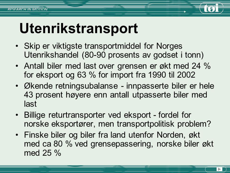 Utenrikstransport Skip er viktigste transportmiddel for Norges Utenrikshandel (80-90 prosents av godset i tonn) Antall biler med last over grensen er