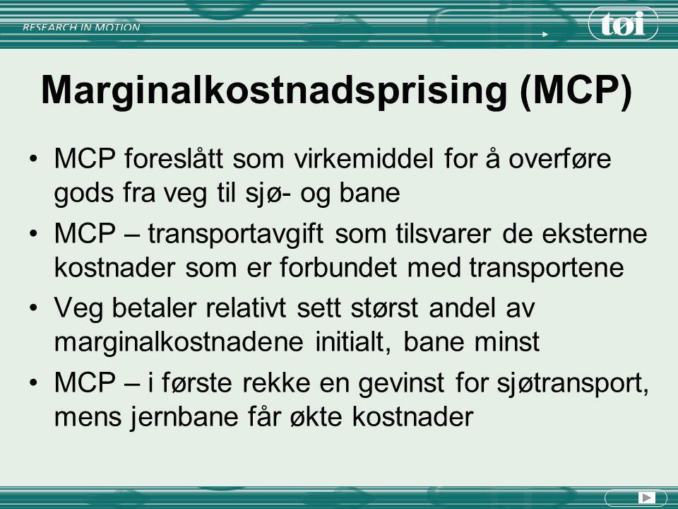 Marginalkostnadsprising (MCP) MCP foreslått som virkemiddel for å overføre gods fra veg til sjø- og bane MCP – transportavgift som tilsvarer de ekster