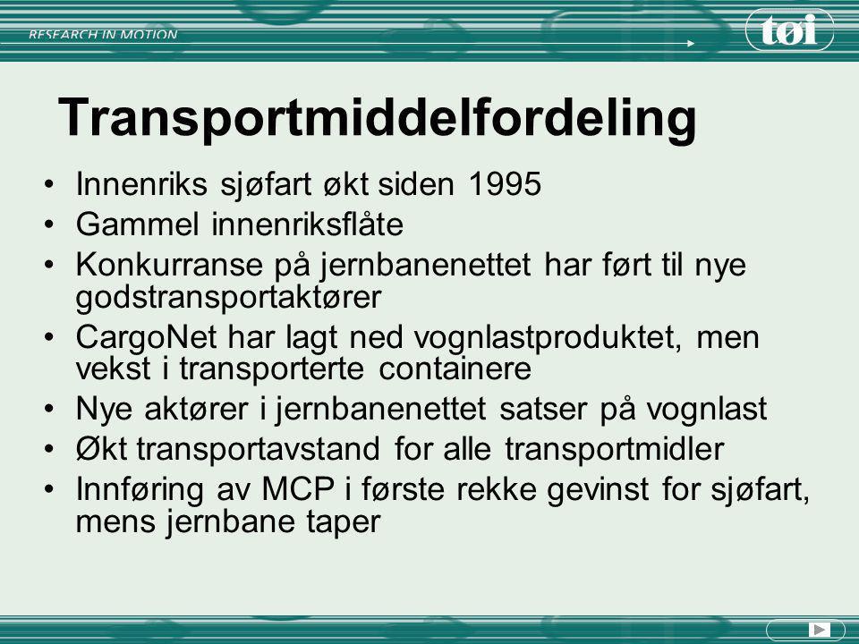 Transportmiddelfordeling Innenriks sjøfart økt siden 1995 Gammel innenriksflåte Konkurranse på jernbanenettet har ført til nye godstransportaktører Ca
