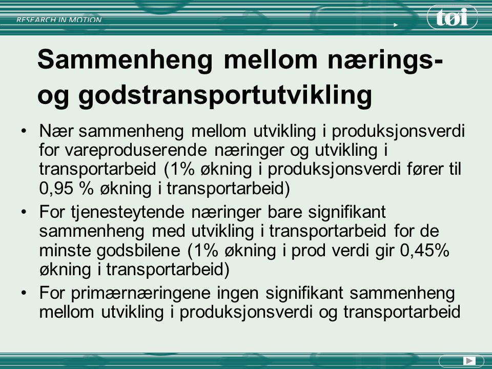 Sjøtransport Eldre og aldrende innenriksflåte Økte godsmengder Økt transportavstand Økt transportarbeid (både absolutt og i markedsandel), men usikkert om dette skyldes sviktende datagrunnlag