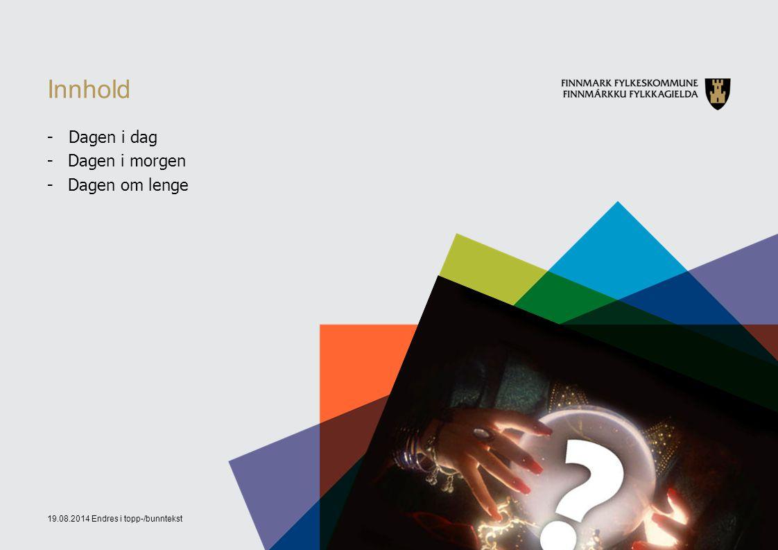 19.08.2014 Endres i topp-/bunntekst2 Innhold - Dagen i dag -Dagen i morgen -Dagen om lenge