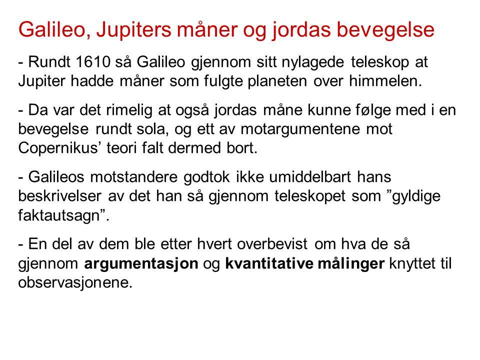 Galileo, Jupiters måner og jordas bevegelse - Rundt 1610 så Galileo gjennom sitt nylagede teleskop at Jupiter hadde måner som fulgte planeten over him