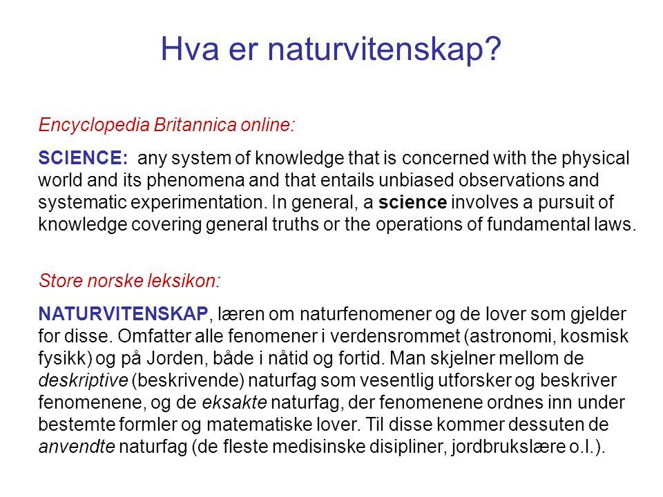 Hva er naturvitenskap? Store norske leksikon: NATURVITENSKAP, læren om naturfenomener og de lover som gjelder for disse. Omfatter alle fenomener i ver