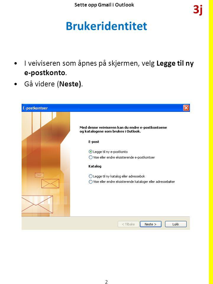 Velg server Velg POP3.POP står for Post Office Protocol.