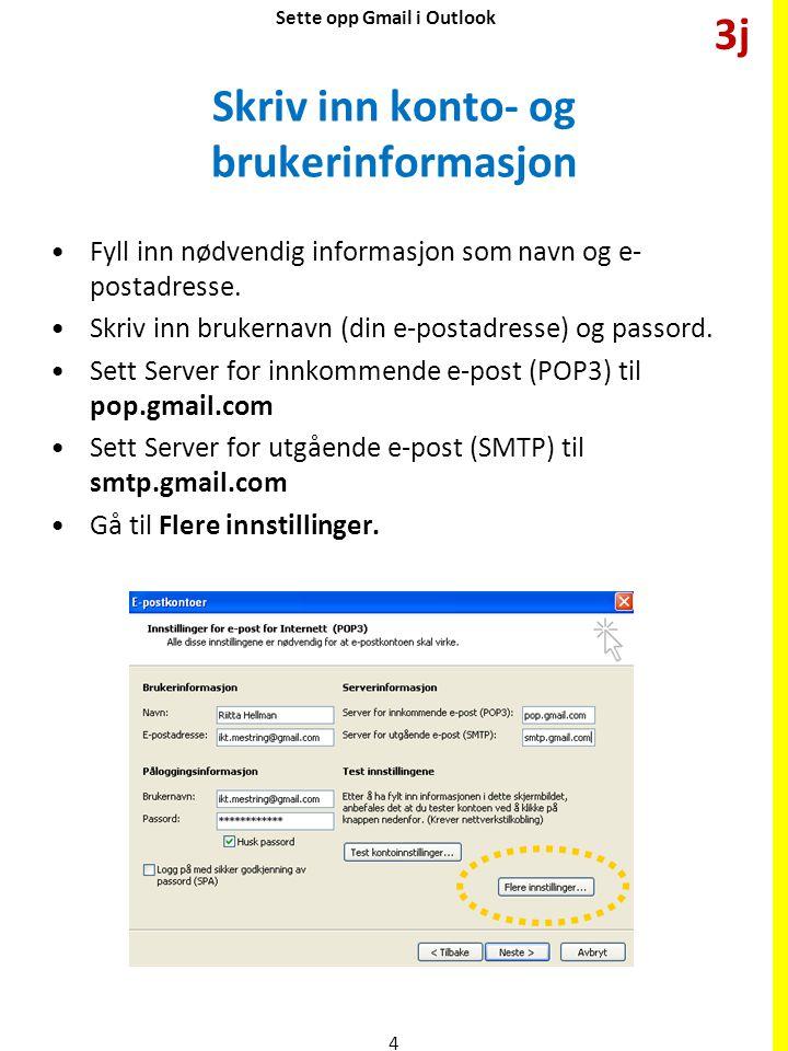Flere innstillinger (1) Velg arkfane Server for utgående e-post.