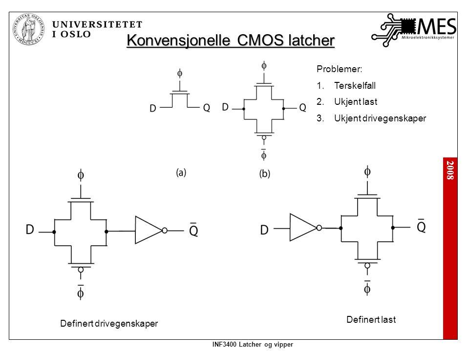 2008 INF3400 Latcher og vipper Konvensjonelle CMOS latcher Problemer: 1.Terskelfall 2.Ukjent last 3.Ukjent drivegenskaper Definert drivegenskaper Definert last
