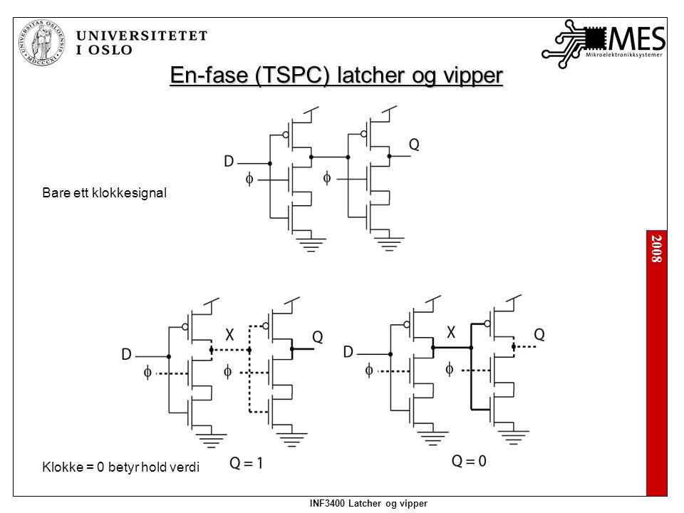 2008 INF3400 Latcher og vipper En-fase (TSPC) latcher og vipper Bare ett klokkesignal Klokke = 0 betyr hold verdi