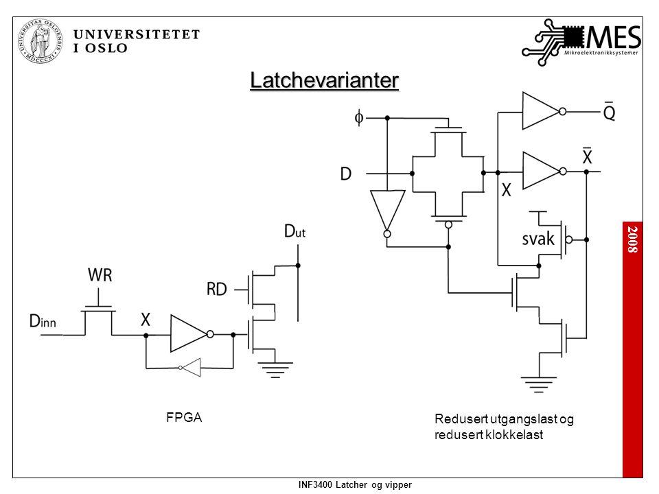 2008 INF3400 Latcher og vipper Latchevarianter FPGA Redusert utgangslast og redusert klokkelast