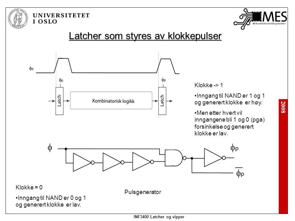 2008 INF3400 Latcher og vipper Latcher som styres av klokkepulser Pulsgenerator Klokke = 0 Inngang til NAND er 0 og 1 og generert klokke er lav.