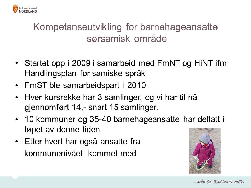Kompetanseutvikling for barnehageansatte sørsamisk område Startet opp i 2009 i samarbeid med FmNT og HiNT ifm Handlingsplan for samiske språk FmST ble