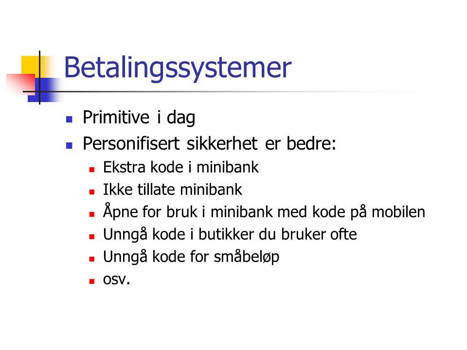 Betalingssystemer Primitive i dag Personifisert sikkerhet er bedre: Ekstra kode i minibank Ikke tillate minibank Åpne for bruk i minibank med kode på