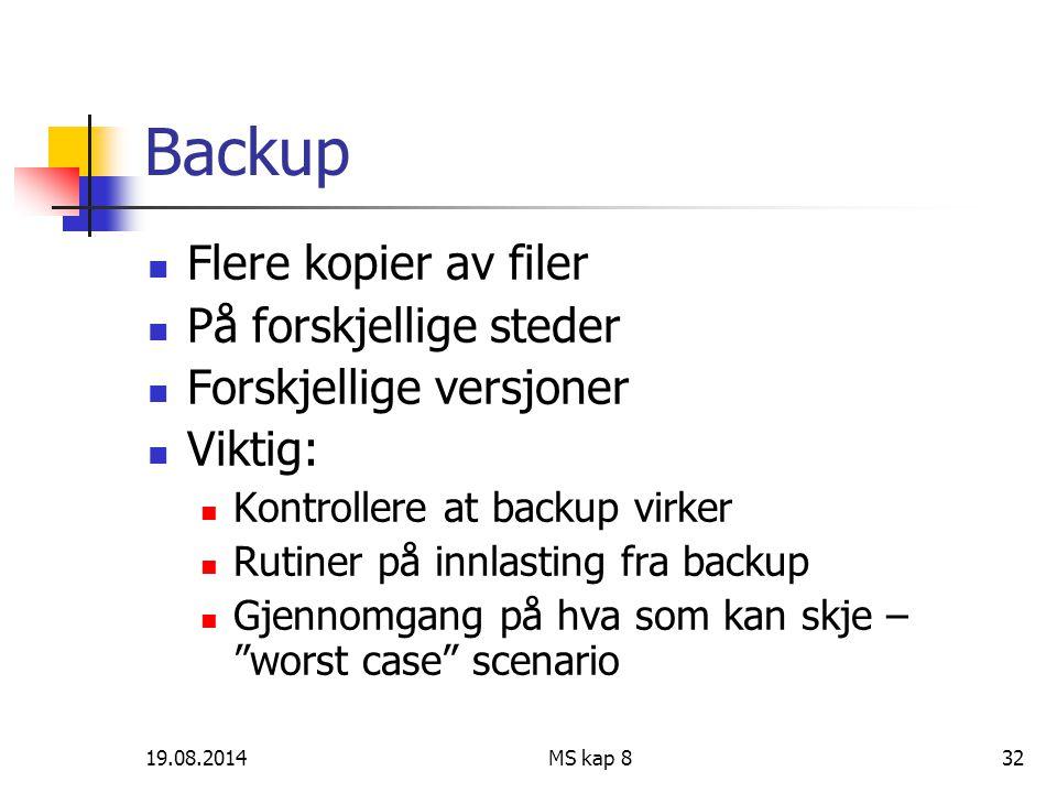 19.08.2014MS kap 832 Backup Flere kopier av filer På forskjellige steder Forskjellige versjoner Viktig: Kontrollere at backup virker Rutiner på innlas