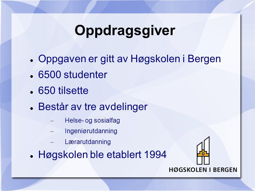 Oppdragsgiver Oppgaven er gitt av Høgskolen i Bergen 6500 studenter 650 tilsette Består av tre avdelinger – Helse- og sosialfag – Ingeniørutdanning – Lærarutdanning Høgskolen ble etablert 1994