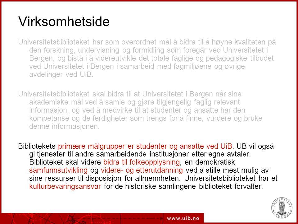 19.08.2014Universitetsbiblioteket Visjon for Universitetsbibliotekets virksomhet Universitetsbiblioteket har som overordnet mål å samle og gjøre tilgjengelig informasjon for å bidra til å høyne kvaliteten på den forskning, undervisning, læring og formidling som foregår ved Universitetet i Bergen.
