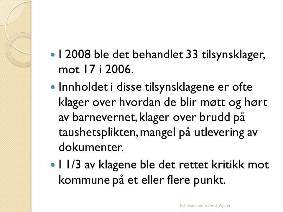 I 2008 ble det behandlet 33 tilsynsklager, mot 17 i 2006.