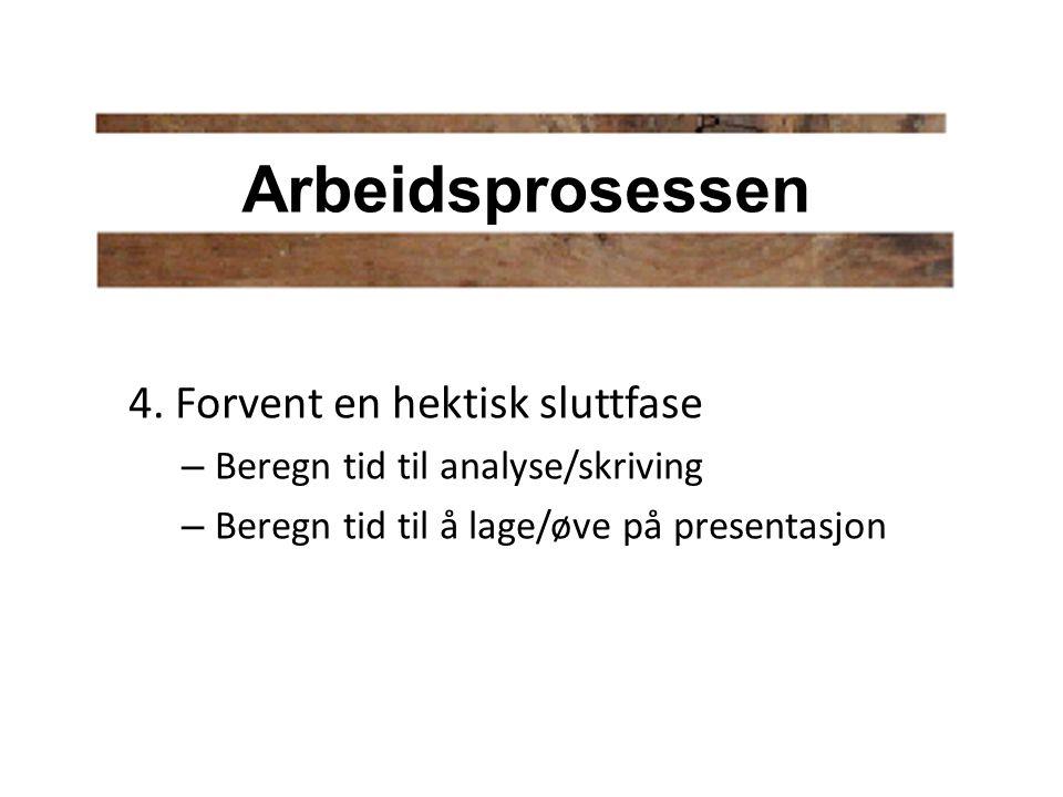 4. Forvent en hektisk sluttfase – Beregn tid til analyse/skriving – Beregn tid til å lage/øve på presentasjon Arbeidsprosessen