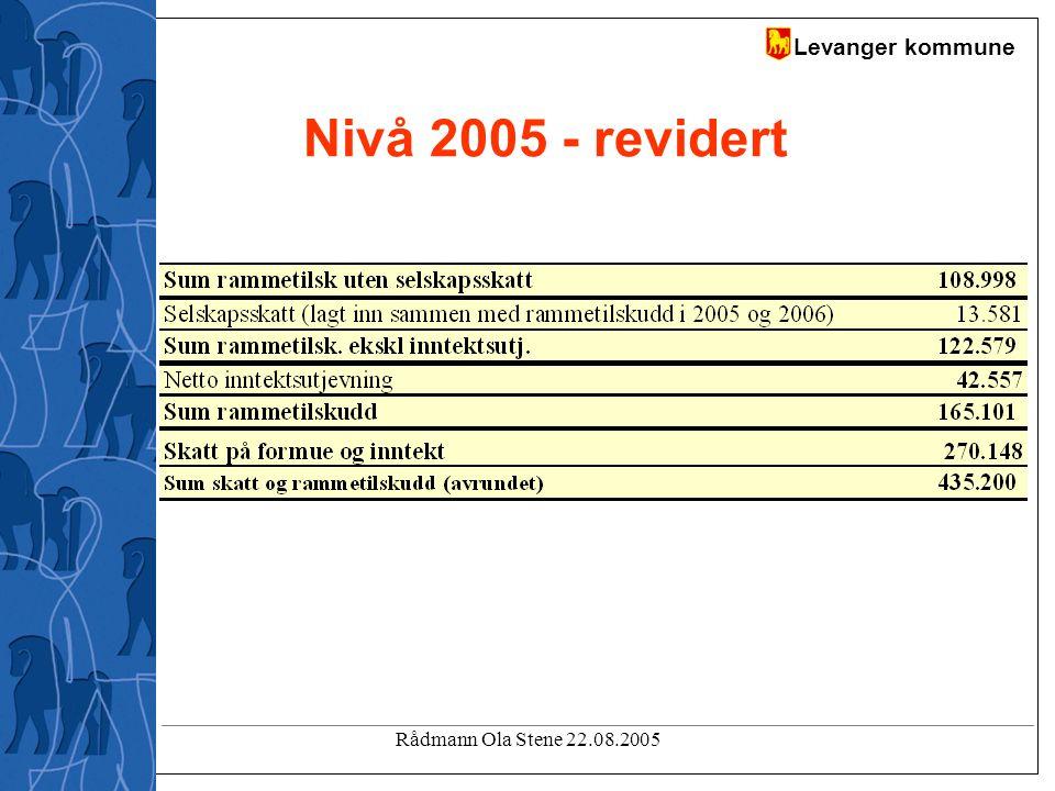 Levanger kommune Rådmann Ola Stene 22.08.2005 Nivå 2005 - revidert