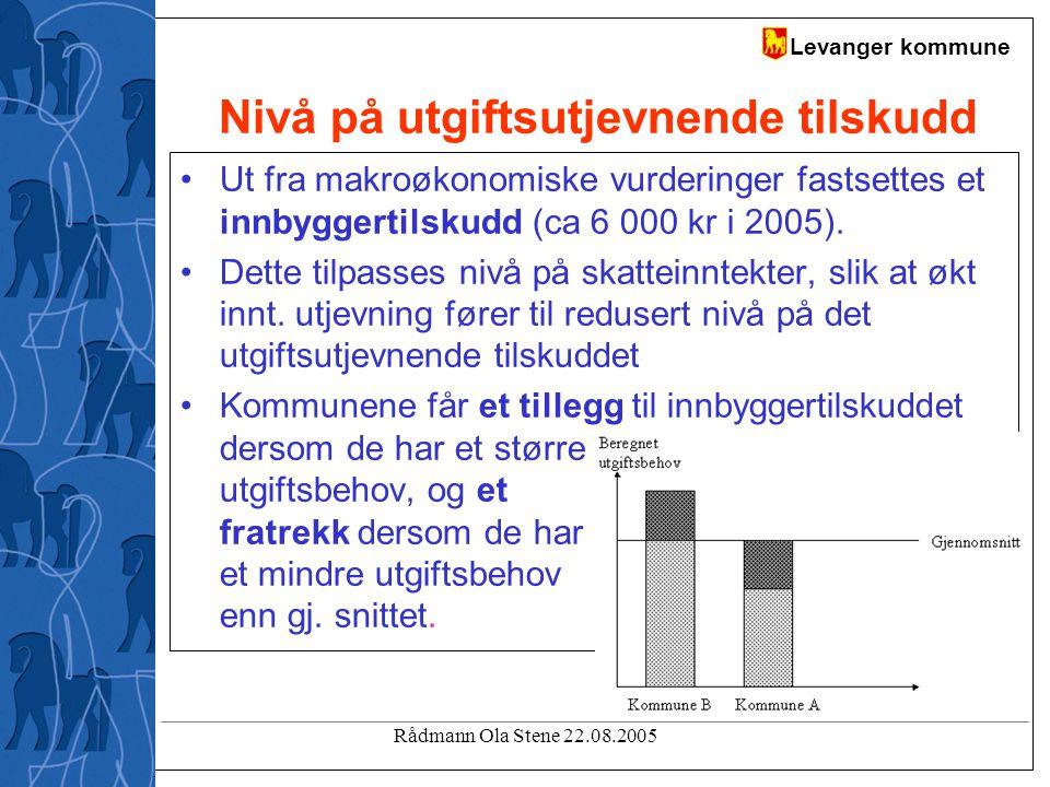 Levanger kommune Rådmann Ola Stene 22.08.2005 Nivå på utgiftsutjevnende tilskudd Ut fra makroøkonomiske vurderinger fastsettes et innbyggertilskudd (ca 6 000 kr i 2005).