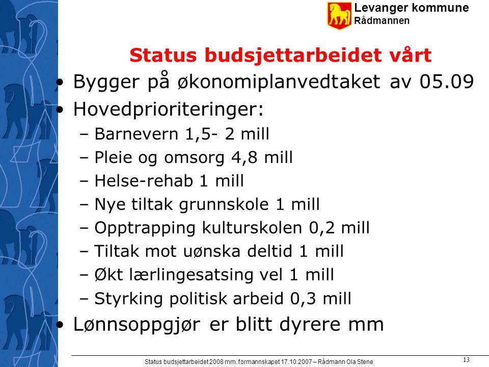 Levanger kommune Rådmannen Status budsjettarbeidet 2008 mm. formannskapet 17.10.2007 – Rådmann Ola Stene 13 Status budsjettarbeidet vårt Bygger på øko