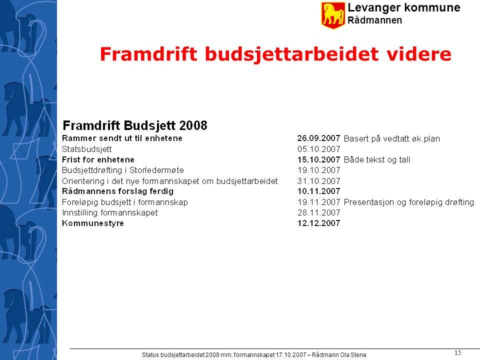 Levanger kommune Rådmannen Status budsjettarbeidet 2008 mm. formannskapet 17.10.2007 – Rådmann Ola Stene 15 Framdrift budsjettarbeidet videre