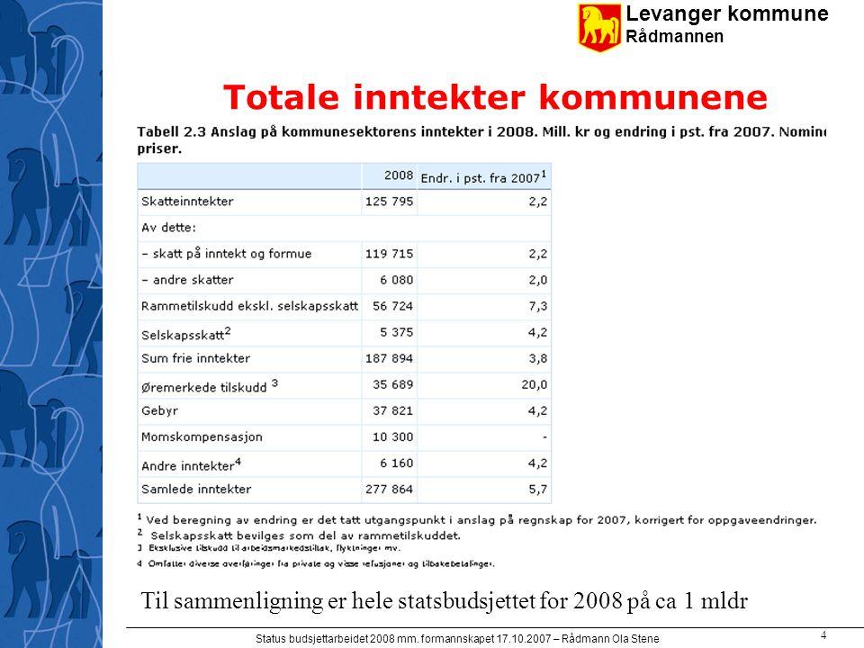 Levanger kommune Rådmannen Status budsjettarbeidet 2008 mm. formannskapet 17.10.2007 – Rådmann Ola Stene 4 Totale inntekter kommunene Til sammenlignin