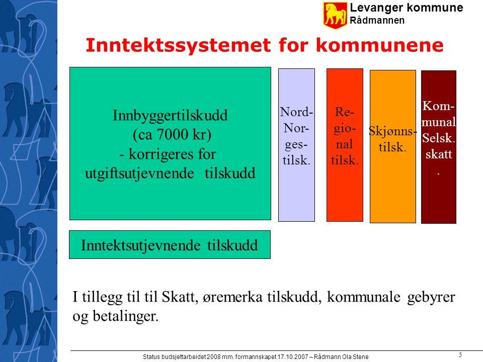 Levanger kommune Rådmannen Status budsjettarbeidet 2008 mm. formannskapet 17.10.2007 – Rådmann Ola Stene 5 Inntektssystemet for kommunene Innbyggertil