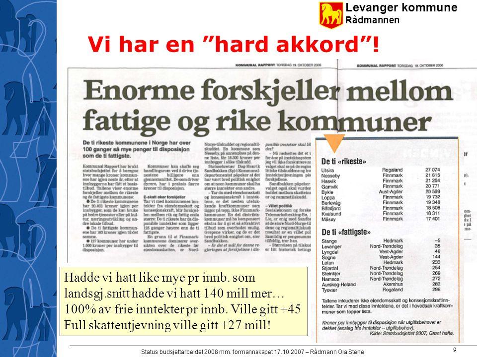 """Levanger kommune Rådmannen Status budsjettarbeidet 2008 mm. formannskapet 17.10.2007 – Rådmann Ola Stene 9 Vi har en """"hard akkord""""! Hadde vi hatt like"""