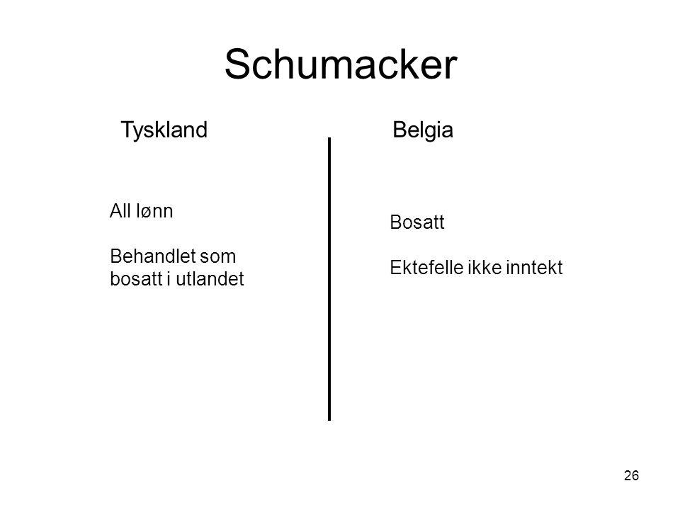 26 Schumacker TysklandBelgia All lønn Behandlet som bosatt i utlandet Bosatt Ektefelle ikke inntekt