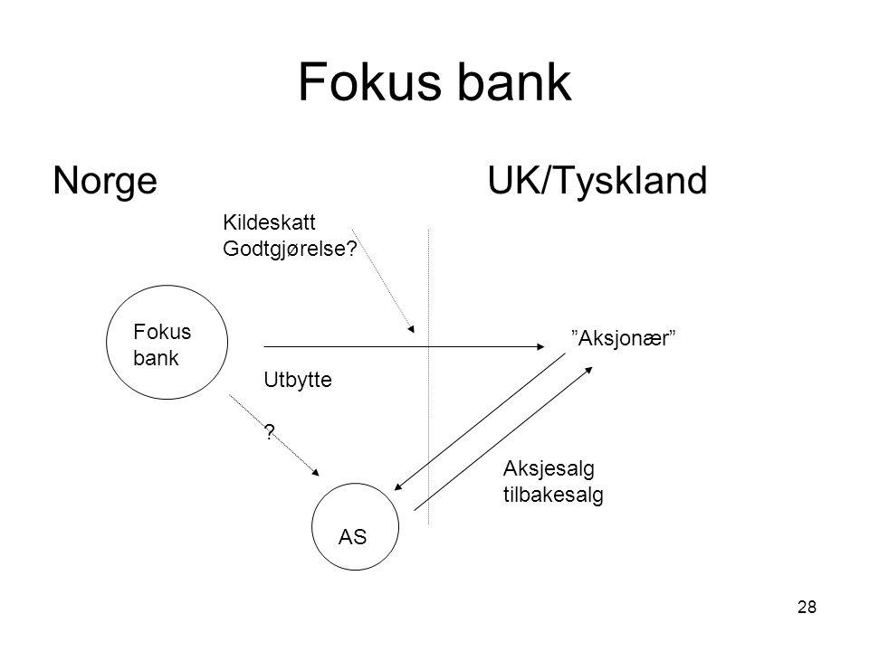"""28 Fokus bank NorgeUK/Tyskland Fokus bank """"Aksjonær"""" AS Aksjesalg tilbakesalg Utbytte ? Kildeskatt Godtgjørelse?"""