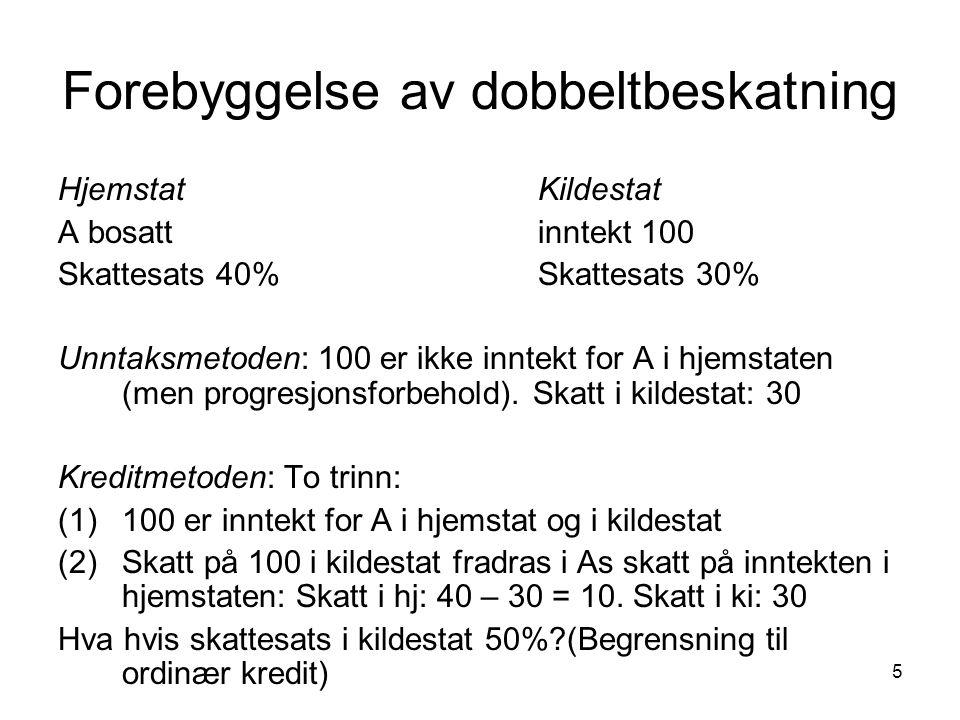 5 Forebyggelse av dobbeltbeskatning HjemstatKildestat A bosattinntekt 100 Skattesats 40%Skattesats 30% Unntaksmetoden: 100 er ikke inntekt for A i hje