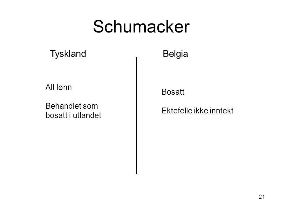 21 Schumacker TysklandBelgia All lønn Behandlet som bosatt i utlandet Bosatt Ektefelle ikke inntekt