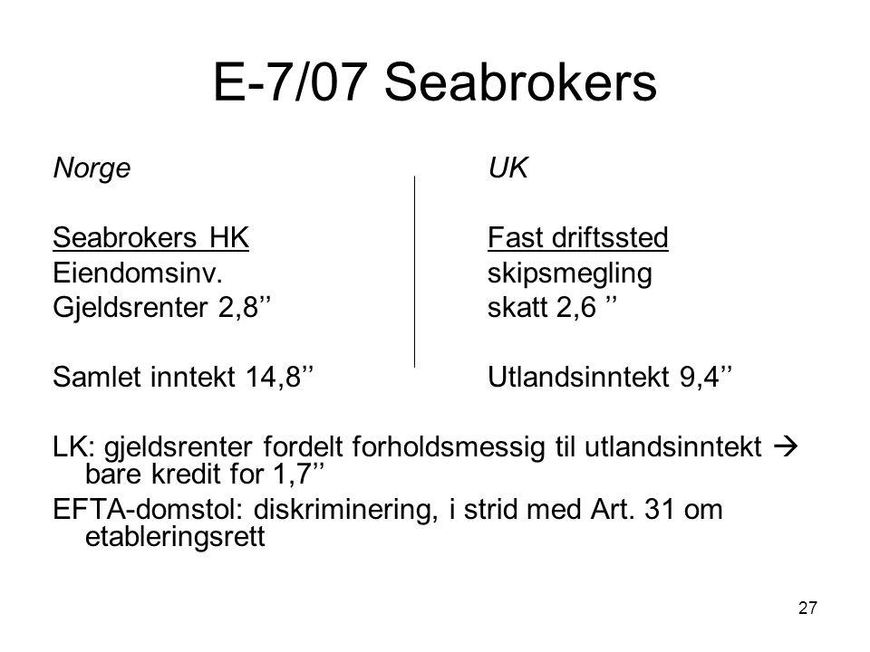 27 E-7/07 Seabrokers Norge UK Seabrokers HKFast driftssted Eiendomsinv.skipsmegling Gjeldsrenter 2,8''skatt 2,6 '' Samlet inntekt 14,8''Utlandsinntekt