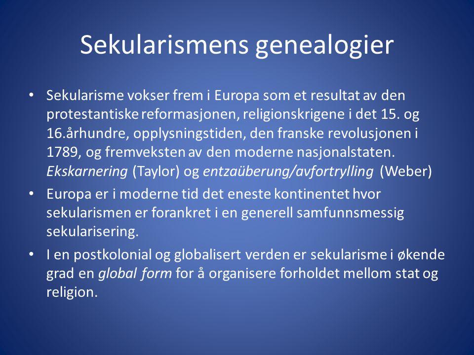 Sekularismens genealogier Sekularisme vokser frem i Europa som et resultat av den protestantiske reformasjonen, religionskrigene i det 15.