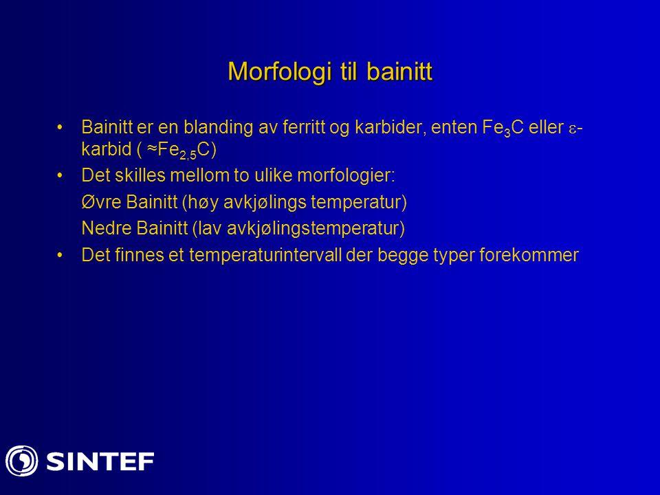 Morfologi til bainitt Bainitt er en blanding av ferritt og karbider, enten Fe 3 C eller  - karbid ( ≈Fe 2,5 C) Det skilles mellom to ulike morfologie