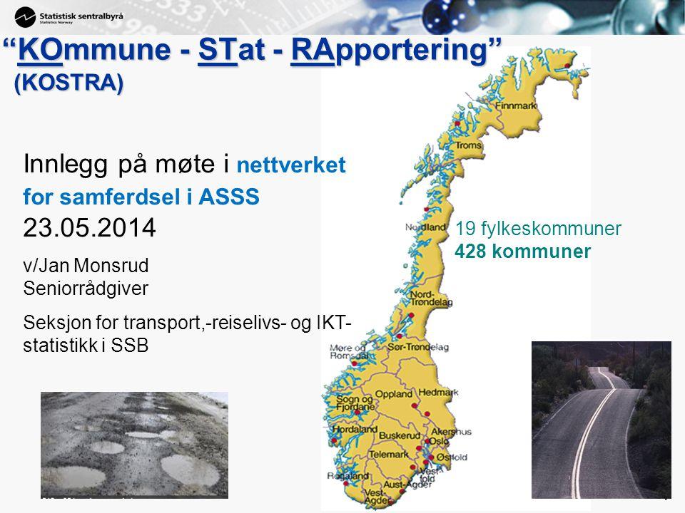 """1 1 """"KOmmune - STat - RApportering"""" 19 fylkeskommuner 428 kommuner (KOSTRA) Innlegg på møte i nettverket for samferdsel i ASSS 23.05.2014 v/Jan Monsru"""