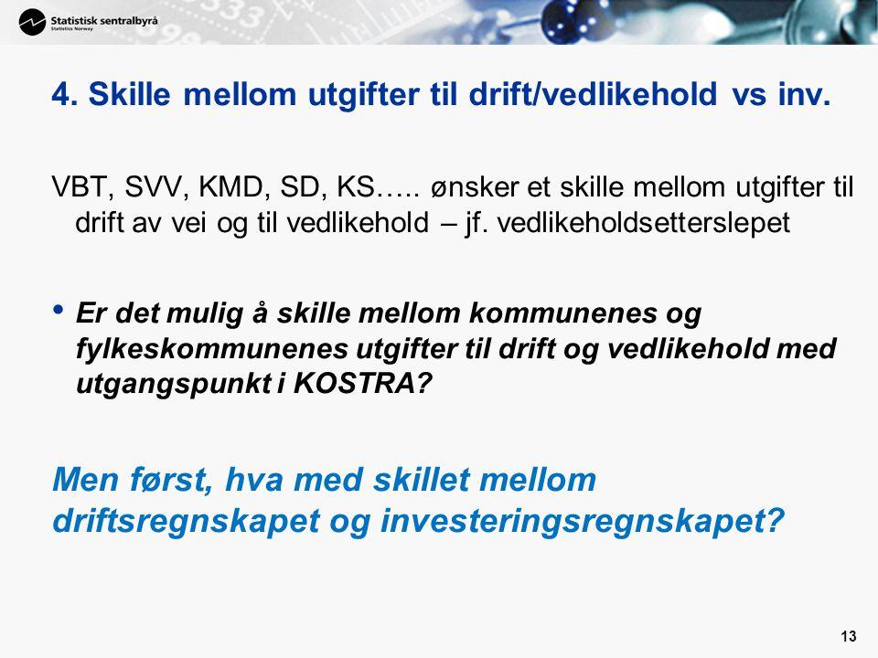 13 4. Skille mellom utgifter til drift/vedlikehold vs inv. VBT, SVV, KMD, SD, KS….. ønsker et skille mellom utgifter til drift av vei og til vedlikeho