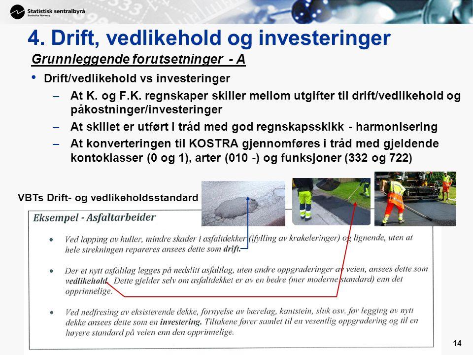 14 4. Drift, vedlikehold og investeringer Grunnleggende forutsetninger - A Drift/vedlikehold vs investeringer –At K. og F.K. regnskaper skiller mellom