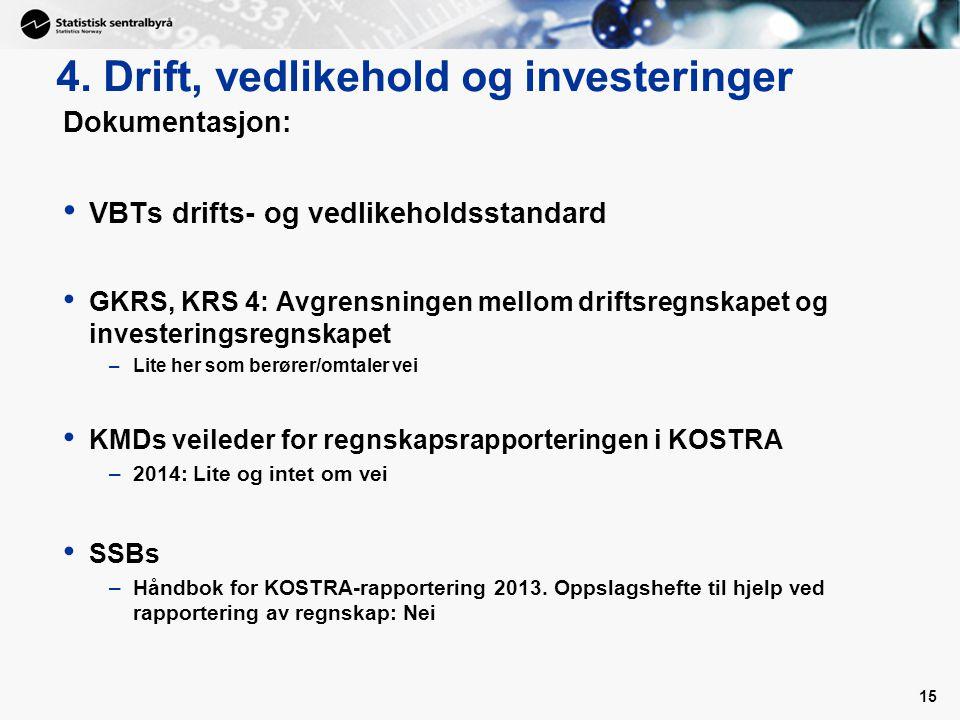 15 4. Drift, vedlikehold og investeringer Dokumentasjon: VBTs drifts- og vedlikeholdsstandard GKRS, KRS 4: Avgrensningen mellom driftsregnskapet og in