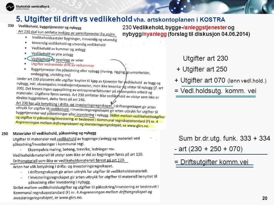 20 5. Utgifter til drift vs vedlikehold vha. artskontoplanen i KOSTRA Sum br.dr.utg. funk. 333 + 334 - art (230 + 250 + 070) = Driftsutgifter komm.vei