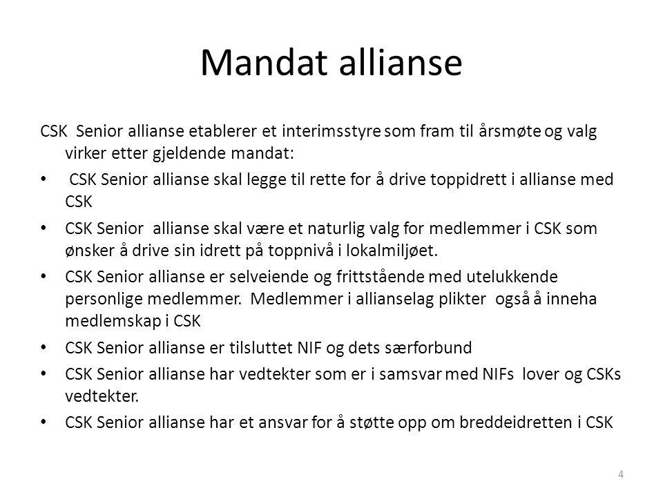 Mandat allianse CSK Senior allianse etablerer et interimsstyre som fram til årsmøte og valg virker etter gjeldende mandat: CSK Senior allianse skal le