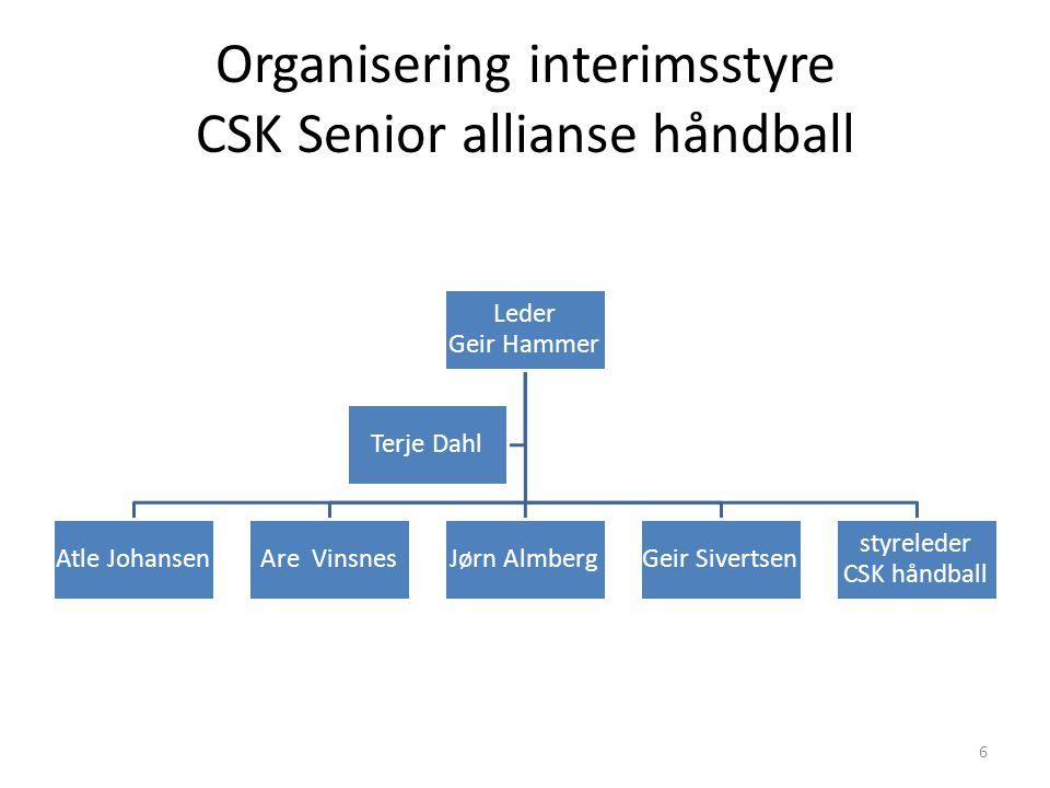 Organisering interimsstyre CSK Senior allianse håndball Leder Geir Hammer Atle JohansenAre VinsnesJørn AlmbergGeir Sivertsen styreleder CSK håndball T