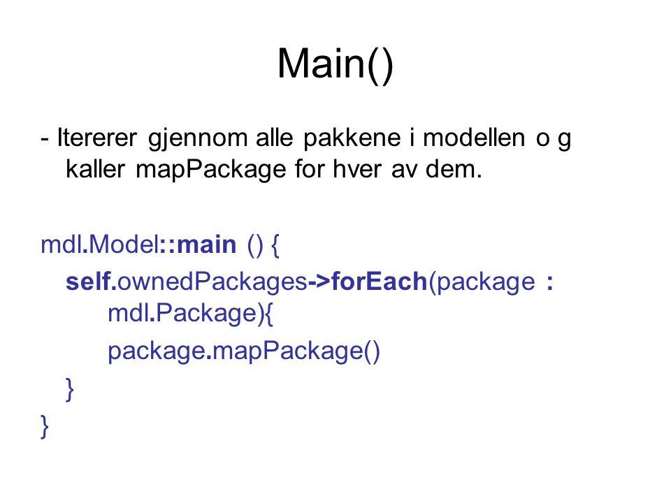 Main() - Itererer gjennom alle pakkene i modellen o g kaller mapPackage for hver av dem.