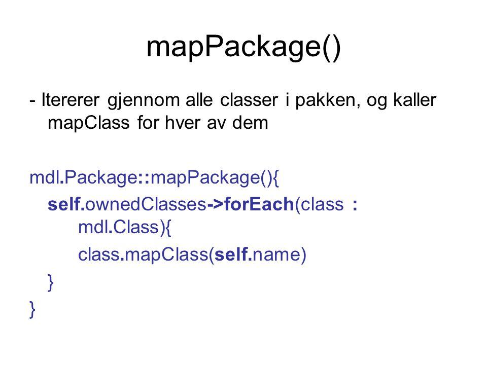 mapPackage() - Itererer gjennom alle classer i pakken, og kaller mapClass for hver av dem mdl.Package::mapPackage(){ self.ownedClasses->forEach(class : mdl.Class){ class.mapClass(self.name) }