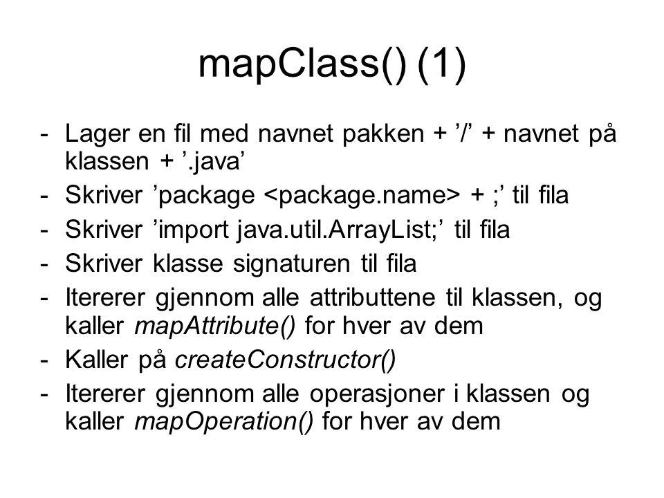 mapClass() (1) -Lager en fil med navnet pakken + '/' + navnet på klassen + '.java' -Skriver 'package + ;' til fila -Skriver 'import java.util.ArrayList;' til fila -Skriver klasse signaturen til fila -Itererer gjennom alle attributtene til klassen, og kaller mapAttribute() for hver av dem -Kaller på createConstructor() -Itererer gjennom alle operasjoner i klassen og kaller mapOperation() for hver av dem