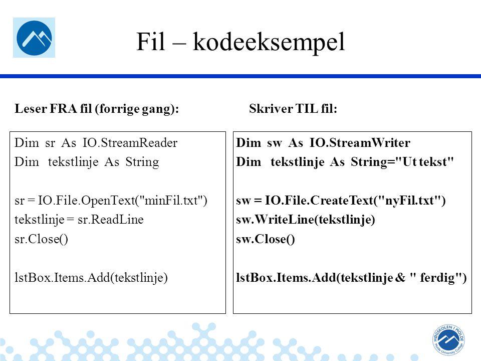 Jæger: Robuste og sikre systemer Det finnes to typer del-programmer Sub-prosedyrer –Løser en del av oppgave til programmet –F.eks, kan oppgaven på forrige side deles i fire del-programmer: Del_Opp_Deltakere_I_Aldersbestemte_Klasser() Lag_Resultatlister_For_Hver_Klasse() Lagre_Paa_Fil() Send_Paa_Epost() Sub-funksjoner –Tilsvarende som prosedyrer, men sub-funksjoner gir alltid en verdi tilbake.