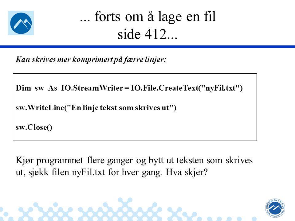 Jæger: Robuste og sikre systemer... forts om å lage en fil side 412...